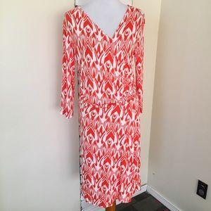 Hatley Faux Wrap V-Neck Dress Orange Ikat